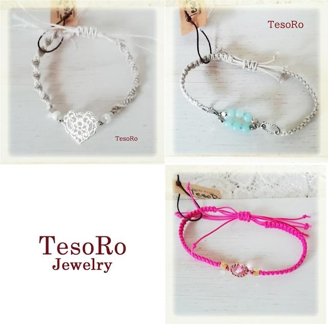 TesoRo:マクラメブレスレット細 A ハートシルバー B アマゾナイトSV C ピンク 選んでね♪