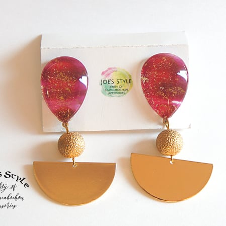 """ Earrings NO.3-73″ ラメ入りレッド"