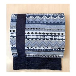 eco帯 -藍色の織りとツイードの八寸名古屋帯-