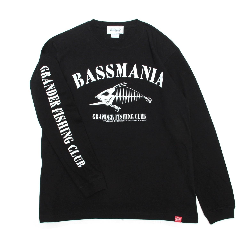 【グランダー武蔵×bassmania】スケルトンデザインロンTee [BLK]【限定生産】