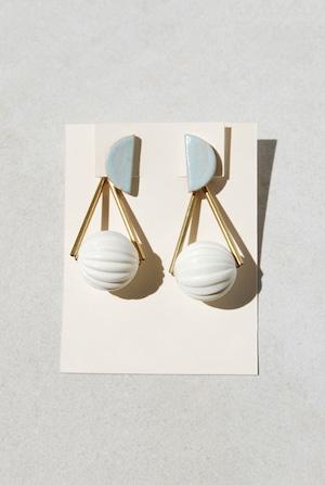 ピアス: ヴィンテージアクリル &特製陶製タイル [2WAY] 「喫茶『青空』」