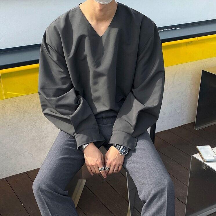 ノーカラーVネックシャツ YH4913