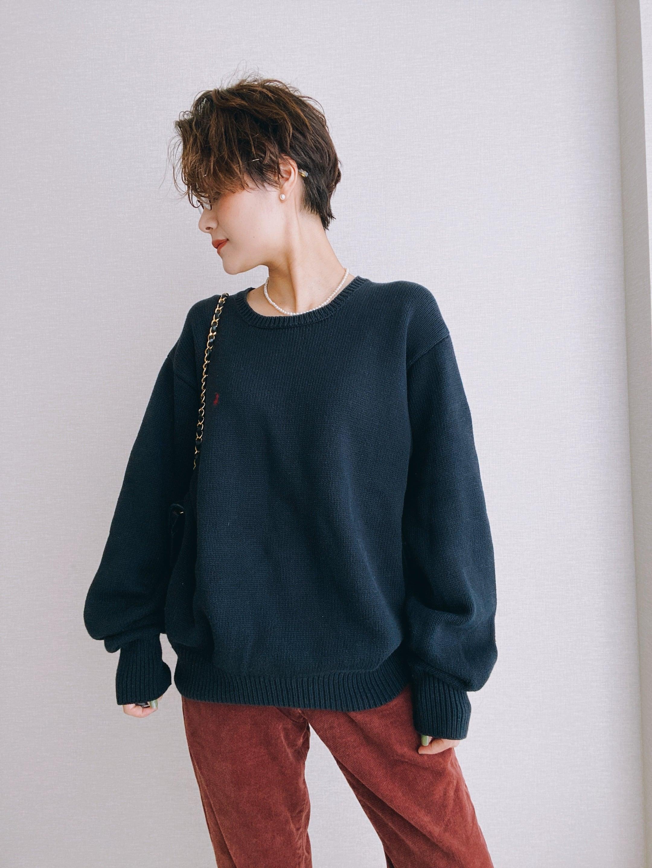 (KN162)Polo Ralph Lauren cotton knit (dark navy)