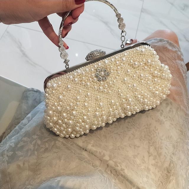 バッグ パーテイーバック 大人気 結婚式バッグ 手持ちバッグ 二次会 宴会 演奏会 パール シャンパン色 ホワイト
