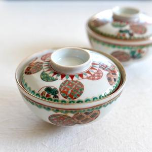 【30934】九谷焼 蓋付き 飯碗 丸紋 / Rice Bowl