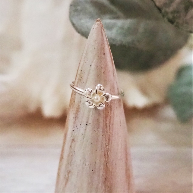 Flower & Pearl Ring《SILVER925》18380050【7号〜11号】