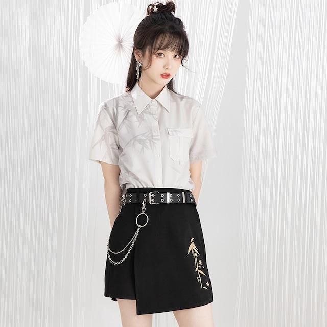 【池夏シリーズ】★チャイナ風セットアップ★ シャツ+キュロットスカート+ベルト 3点セット 竹  漢元素