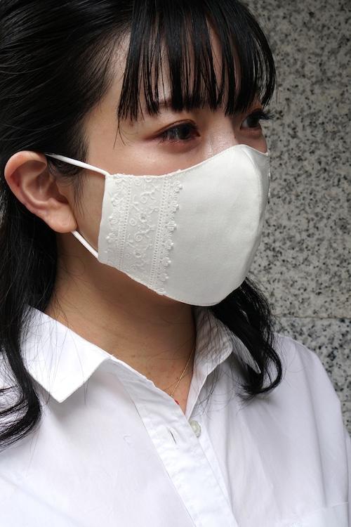 【セール】オフィスカジュアルのためのレース付き布マスク/オフホワイト