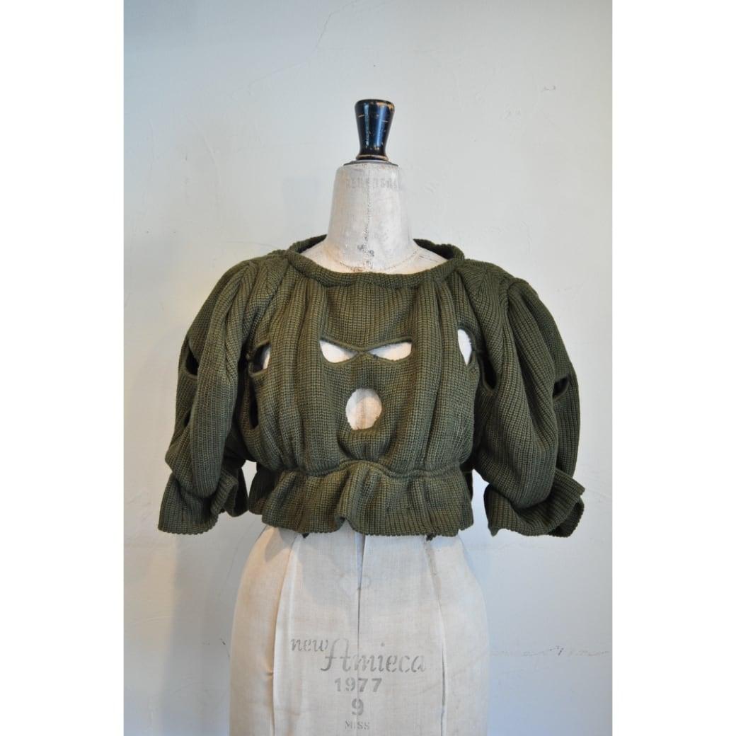 【RehersalL】short hole knit(olive drab) /【リハーズオール】ショートホールニット(オリーブドラブ)