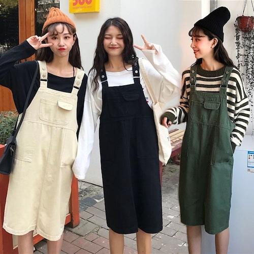 サロペットワンピース ジャンパースカート 韓国ファッション レディース ガーリー ハイウエスト レトロ DTC-587403309486