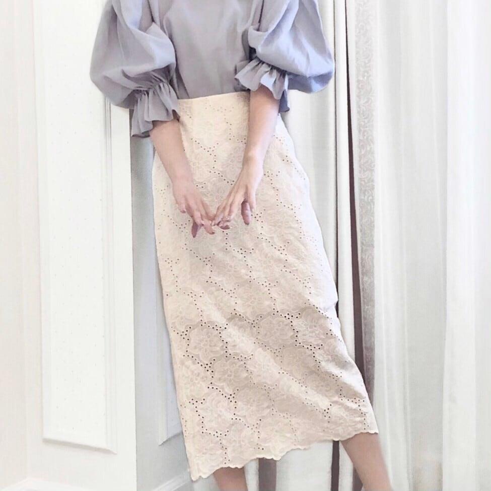 【Fluffy】コットンレースタイトスカート