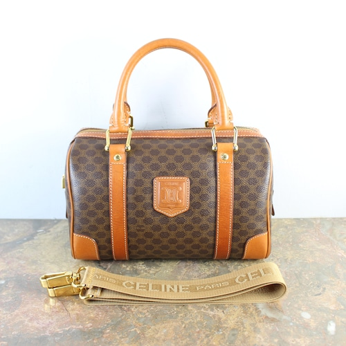 .OLD CELINE MACADAM PATTERNED 2WAY MINI BOSTON SHOULDER BAG MADE IN ITALY/オールドセリーヌマカダム柄2wayミニボストンショルダーバッグ2000000056258