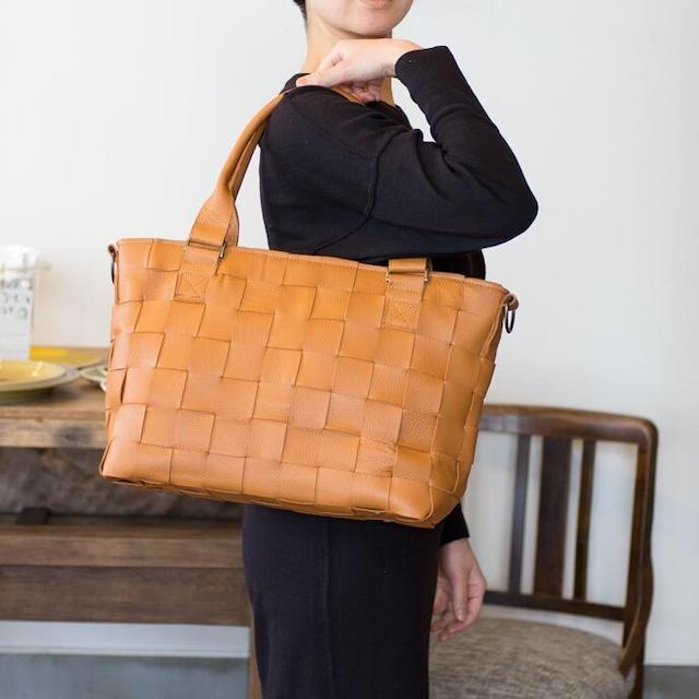 家具用・牛革製 / 編み革、メッシュレザー/ショルダー付・2WAY レザートートバッグ/ キャメルオレンジ/ A4すっぽり