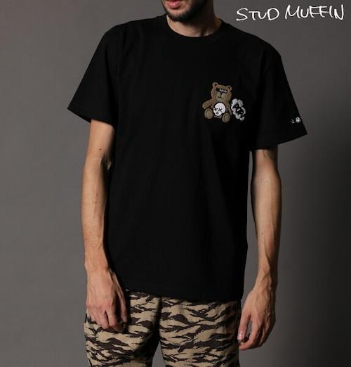 STUD MUFFIN スタッドマフィン STUDベア ワッペン 半袖 Tシャツ メンズ トップス ブラック