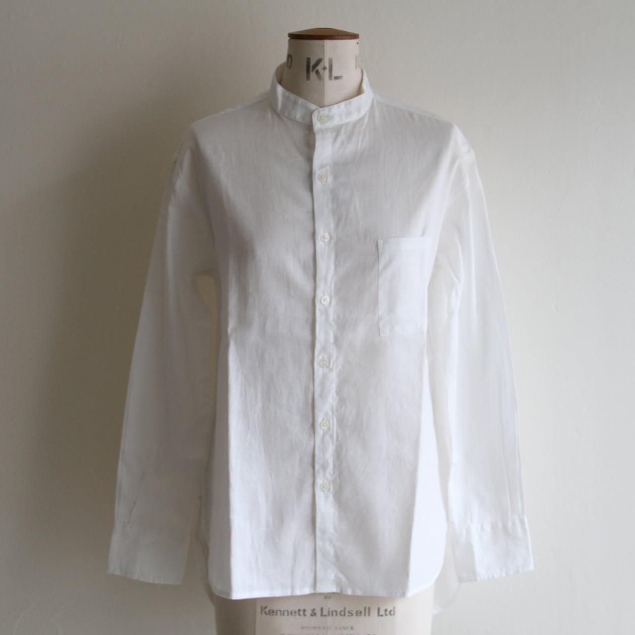 H.UNIT【 womens 】cotton linen twill bandcollar shirts