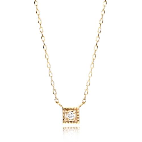 K10 Square Mille Grain Diamond Necklace