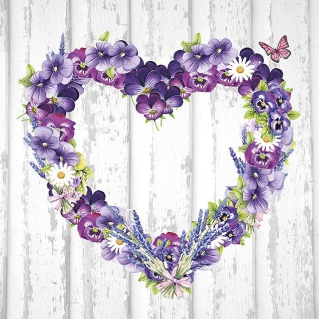 【Ambiente】バラ売り2枚 ランチサイズ ペーパーナプキン Purple Heart パープル