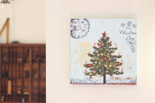 クリスマスツリー アンティークテイストキャンバス額/セレクト雑貨