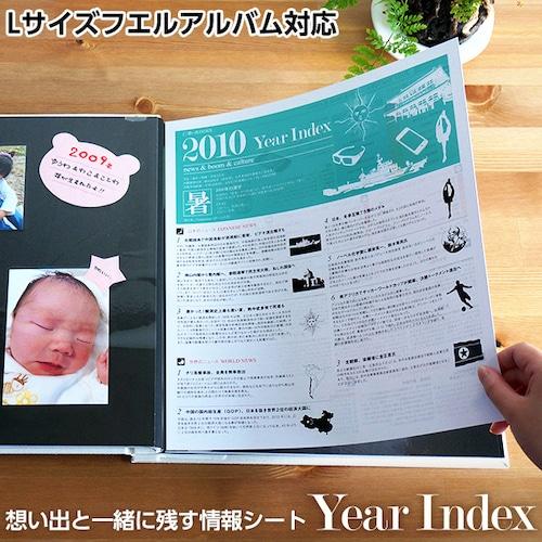 想い出INDEXシリーズ 「Year Index」 Lサイズフエルアルバム用情報シート