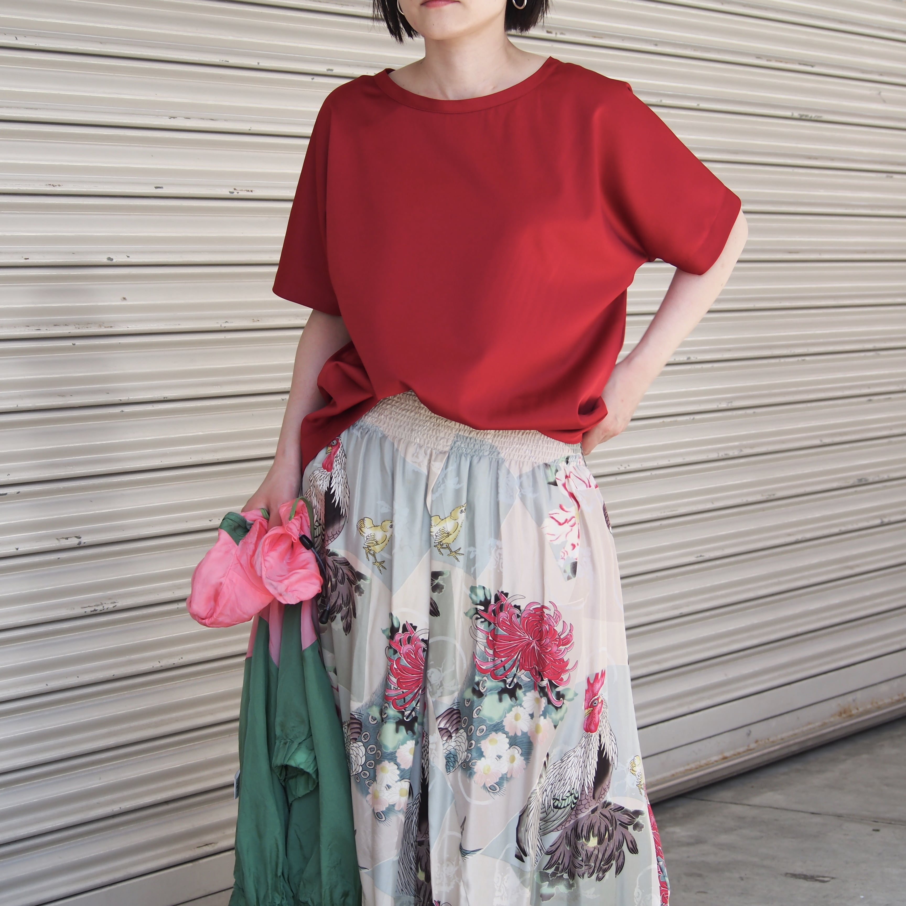 【ethical hippi】wide t-shirt (antique red)/ 【エシカル ヒッピ】ワイド Tシャツ(アンティーク レッド)