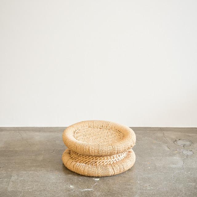 JUTE STOOL LOW インドのジュート(麻)とヨシ(葦)の低スツール