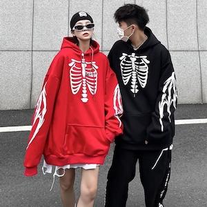 【トップス】暗黒系ストリートファッションプリント骨図柄パーカー53645694