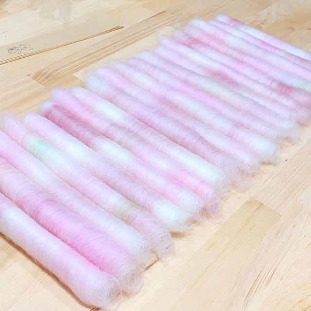 OGY28) 2021年「さくら」手紡ぎ毛糸用ブレンド羊毛 ローラグ20本50g