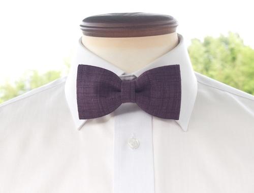 TATAN 和調変り織り蝶ネクタイ(紫色)