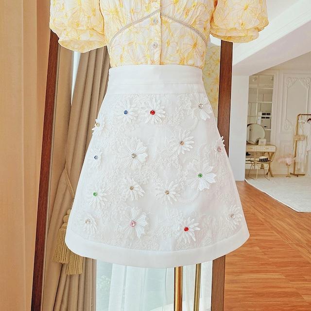 全2色マルチカラーストーンフラワースカート