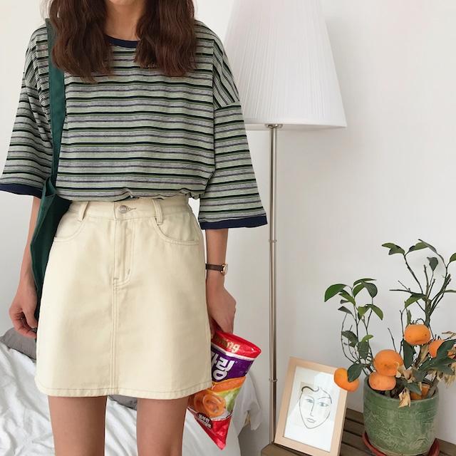 シンプルワンカラー・Aラインボックススカート
