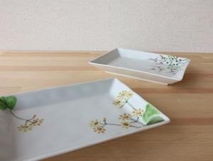 秋の野花 長角皿とだえん鉢 (各) (工房直売価格)