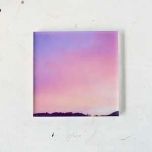 【mt.souvenir】山の透けるアクリルパネル/白馬の夕焼け空(12×12cmスクエア)