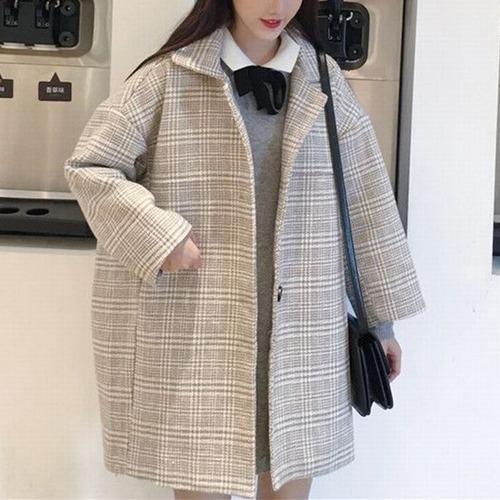 チェック柄 ウール チェスターコート 韓国ファッション レディース アウター シングルブレスト コート 大人カジュアル DTC-604059827952