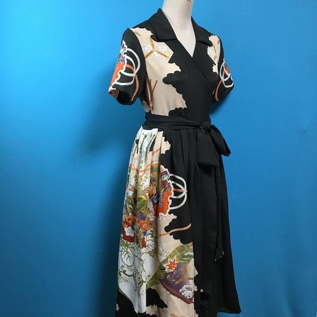 Vintage 黒引き振袖ドレス US 8