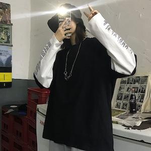 【トップス】フェイクレイヤードアルファベットストリート系Tシャツ42895614