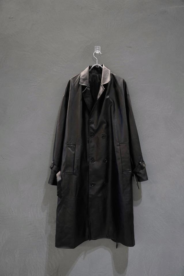 【次回入荷11月中旬先行予約】℃℃℃ leather trench coat  Black