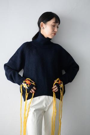 YOHEI OHNO / sweater with argyle hands (navy)