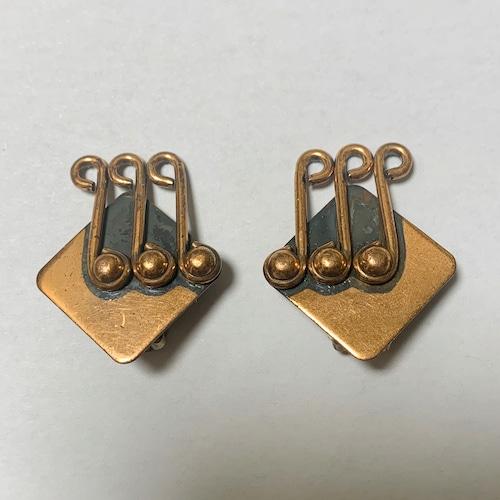Vintage Renoir Copper Modernist Earrings⑤