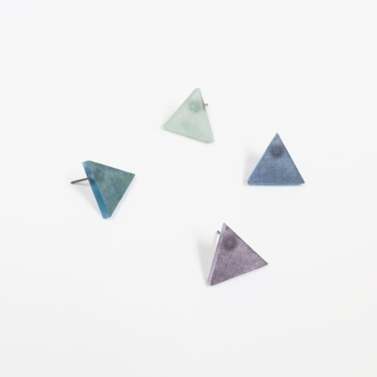 藍染/泥染/幾何学片耳用ピアスイヤリング/E-6_T_AI