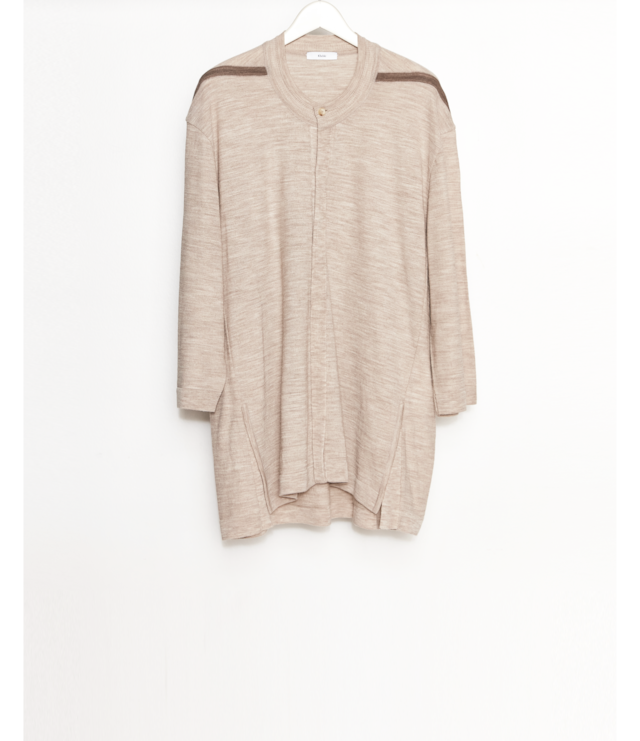 Open front Knit T-Shirt / Beige