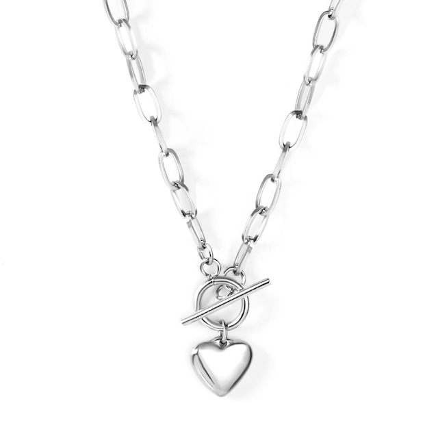 Heart Toggled Necklace【SILVER】