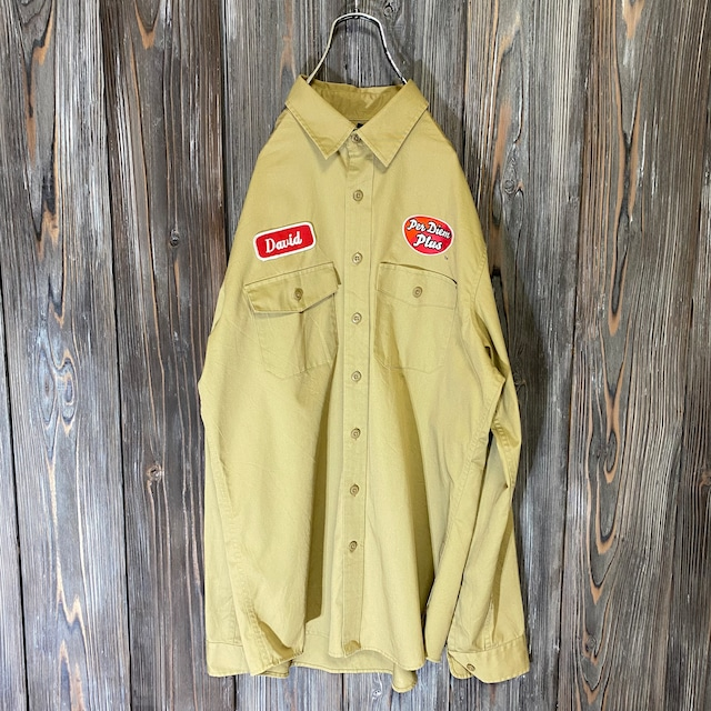 [used]camel color work shirt