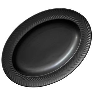 波佐見焼 翔芳窯 ローズマリー リムオーバル 皿 約27×19cm マットブラック 33381