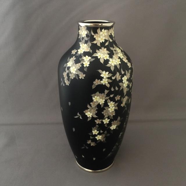 夜桜文様七宝花瓶