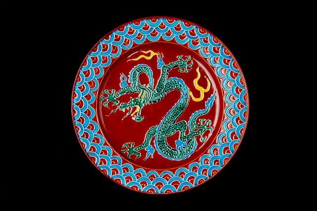 ◆受注生産◆紫交趾龍8寸皿 高島慎一作