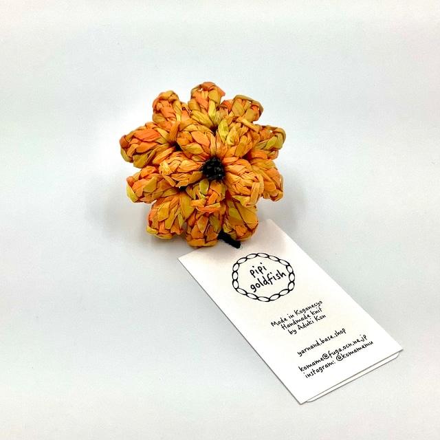 近あづき 和紙のフラワーブローチ(オレンジ)