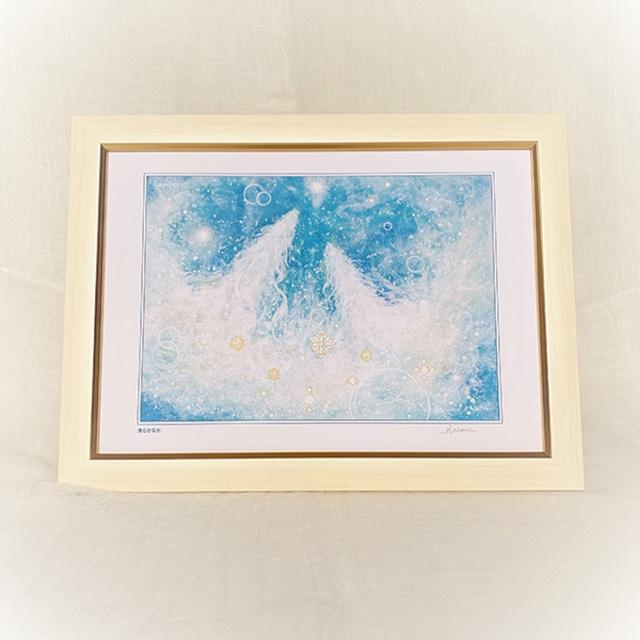 龍神の絵 ヒーリングアート 清らかなれ 風水画 額装A4ジクレーアート