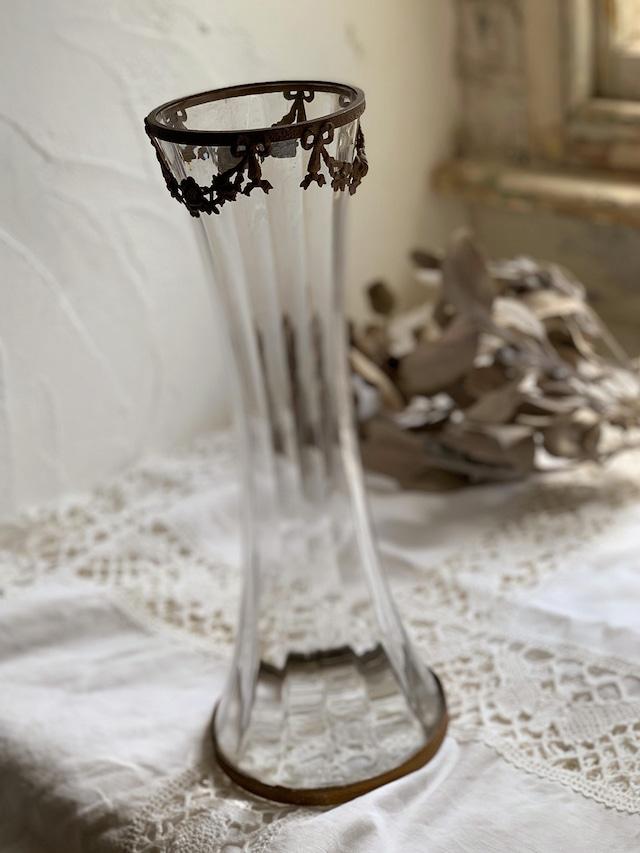 フラワーベース 花瓶 リボン装飾 ガラス花器