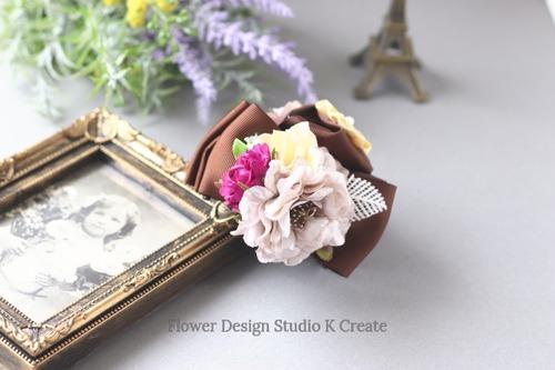 シルバーローズと紫の薔薇のバンスクリップ 髪飾り ヘアクリップ リボン 茶 結婚式 参列 フォーマル バラ お出掛け