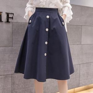 2色/メタルボタンフレアスカート ・19257